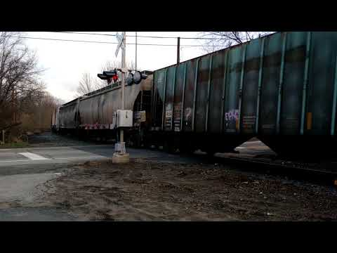 New England Central 608 works hard through Mansfield Depot Connecticut