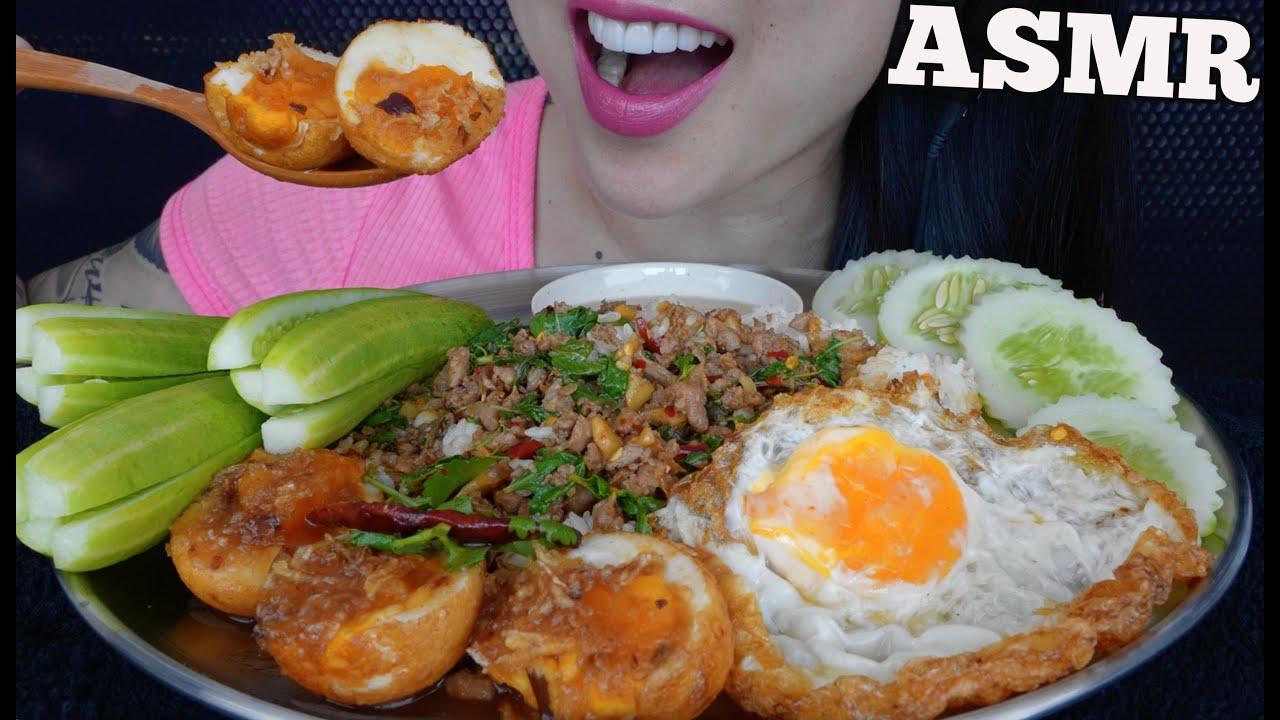 ASMR THAI FOOD *PAD KRA PAW ผัดกระเพรา + EGGS (EATING SOUNDS) NO TALKING | SAS-ASMR