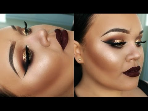 Gold Glitter Eyes | Full Face Drugstore Makeup Tutorial | New Years Eve | Makeupwithjah