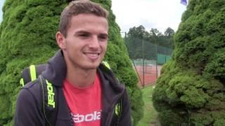 Ondřej Krstev po výhře v 1. kole kvalifikace na turnaji Futures v Ústí n. O.