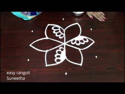 Easy n simple kolam with 5 dots    Creative  muggulu with Roses     Beautiful  designs for beginners