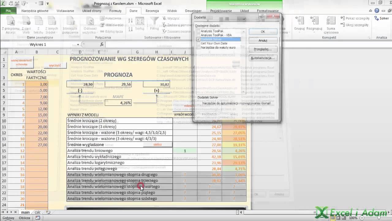 Excel Prognozowanie Według Szeregów Czasowych Ekstra 2 Youtube