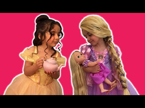 Thumbnail: Disney Movie In Real Life PRINCESS TEA PARTY Cake + Frozen Elsa Dolls Toys Dress Up Costume PART 1