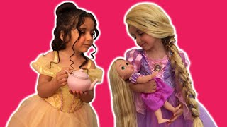 Disney Movie In Real Life PRINCESS TEA PARTY Cake + Frozen Elsa Dolls Toys Dress Up Costume PART 1