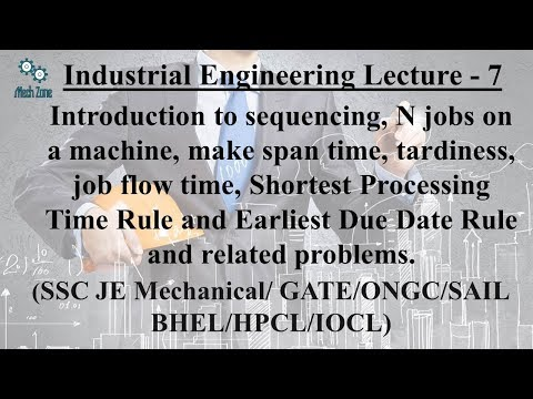 Industrial Engineering Lecture 7: Sequencing, Shortest Processing time & Earliest Due Date Rule.