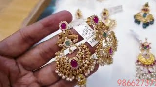 22ct gold jewellery collection with weight & adress//3in1set//chandbhalis/ gold earrings collection
