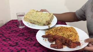 Eating Spicy Buffalo Wings with Fried rice and Chicken chowmein by Chow army fan
