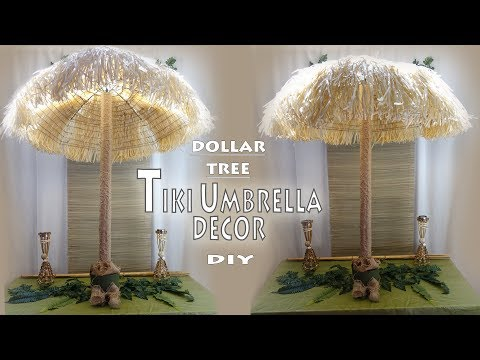 Tiki Umbrella DIY / Luau Theme Decor / Dollar Tree DIY /  Party Decor