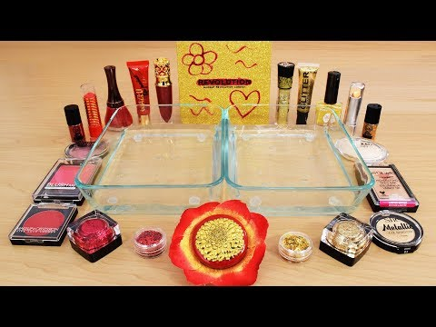 Red Vs Gold - Mixing Makeup Eyeshadow Into Slime Special Series 138 Satisfying Slime Video