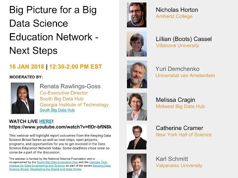 Big Picture for a Big Data Science Education Network - Next Steps