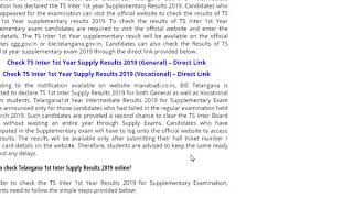 Manabadi TS Inter 1st Year Supplementary Results 2019 Declared ...