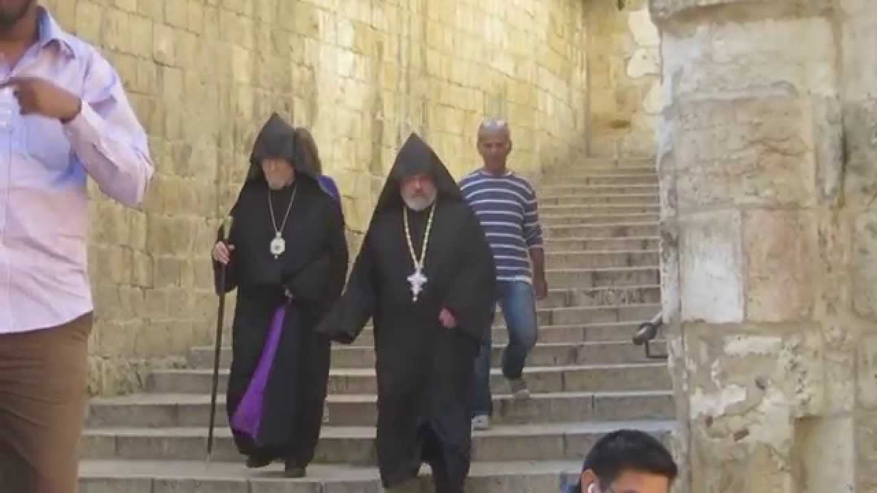 Greek Orthodox monks on the way to meet the Cardinal in the Church of the Holy Sepulchre, Jerusalem
