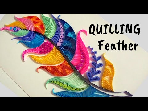 Quilling Feather design Making / Quilling art 2018/ Quilling Feather Pattern 2018