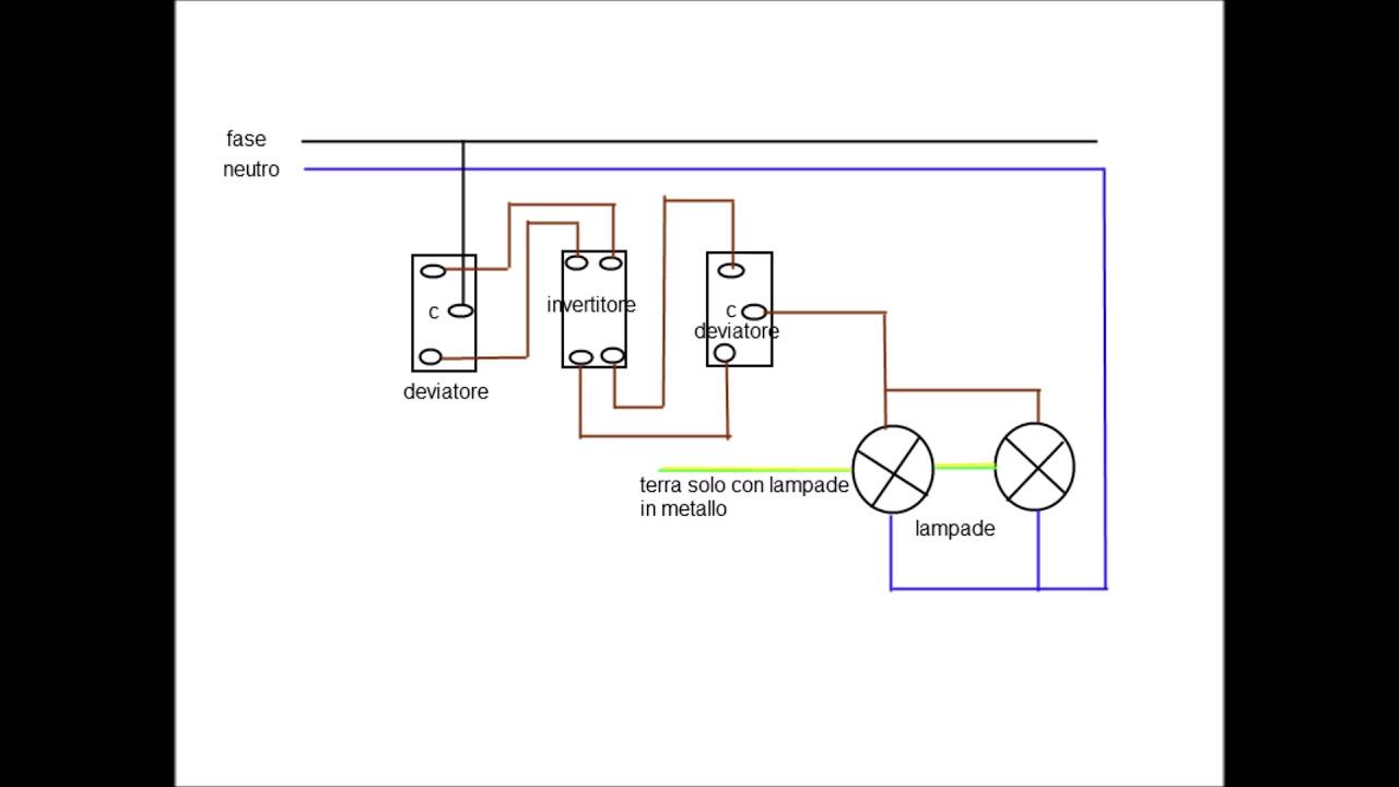 Schema Collegamento Invertitore : Schema elettrico punto luce invertito youtube