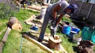 DIY planter from tree trunk