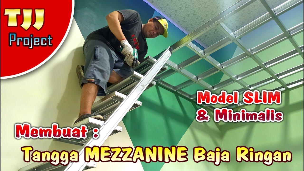 MEMBUAT TANGGA LANTAI TINGKAT BAJA RINGAN model slim dan minimalis , Project mezzanine