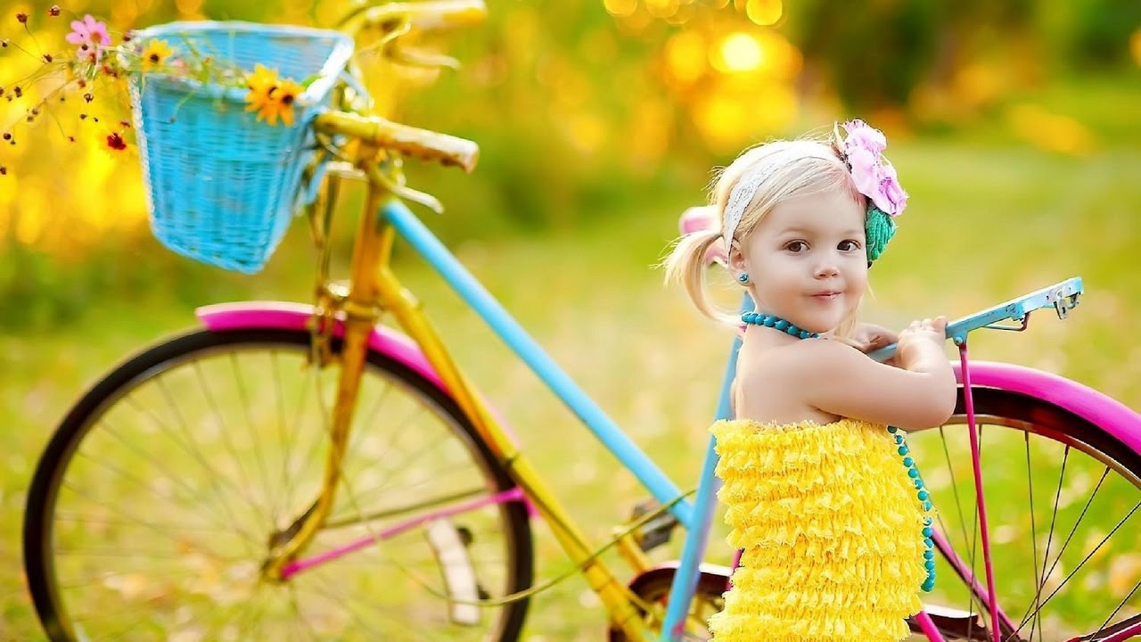 cute small baby girl with bicycle photos. - youtube