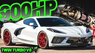 900HP STOCK ENGINE C8 Corvette on BOOST is AMAZING! (Twin Turbo V8 SCREAMS!)