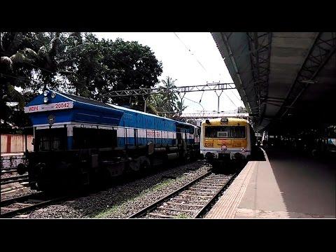Indian Railways 11013 Coimbatore Express aggressively overtakes Pune EMU