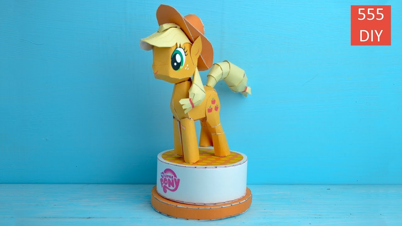 Diy Mlp Applejack My Little Pony Paper Craft Toy Diy ม าโพน