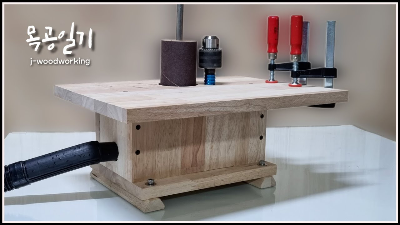 making a drum sander driven by drill press / guess what's inside [woodworking]