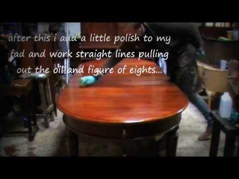 How to French Polish a dining room table..hand finishing...