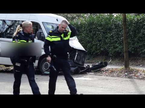 Taxibus botst tegen boom, Passagier overleden
