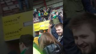 hibs fans about 15 minutes after full time at tynie 12 2 17