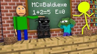 Monster School : AVM SHORTS & STICKMAN VS BALDI'S BASICS CHALLENGE - Minecraft Animation