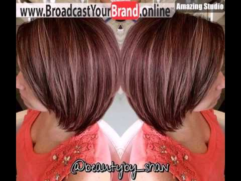 Plum Red Bob With Caramel Highlights Youtube