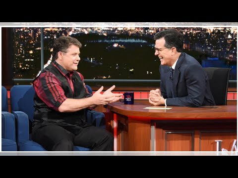 Sean astin surprises his number one fan stephen colbert in his underwear on 'late show'!