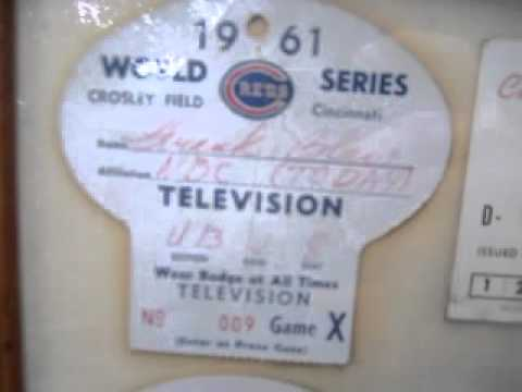 1961 cincinnati REDS crosley field PASS ticket  world series REPORTER BADGE 001.MOV