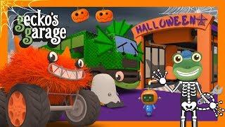 Big Spooky Trucks on Halloween | Gecko's Garage | Truck Cartoons