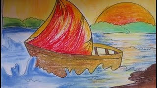 drawing easy scenery painting boat kid