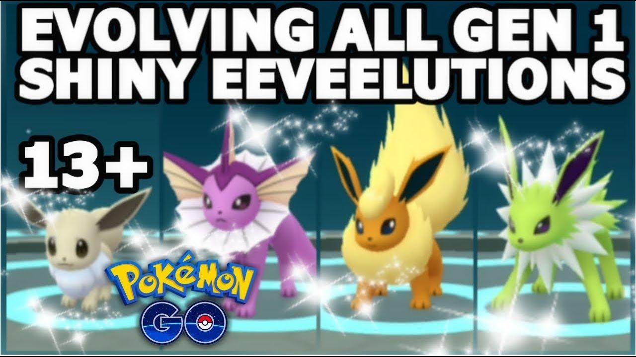 ALL SHINY EEVEE EVOLUTIONS GEN 1 POKEMON GO | OVER 13 ...