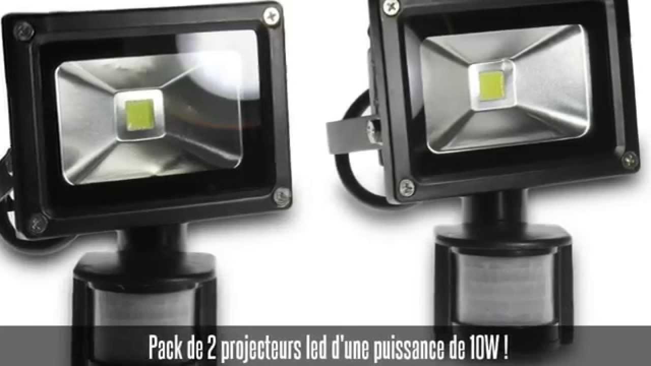 pack de 2 projecteurs led 10w avec d tecteur de. Black Bedroom Furniture Sets. Home Design Ideas