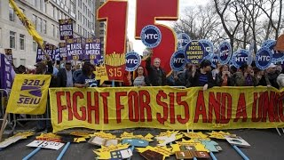 Would $15 save employees and break employers? Low-wage workers around the nation went out in protest on April 15, demanding a minimum wage of $15 an hour. A few big corporations have begun raising ..., From YouTubeVideos