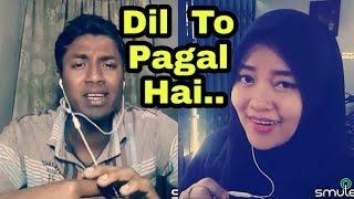 Dil to pagal hai....Indian boy and Indonasian girl duet. My karaoke 27