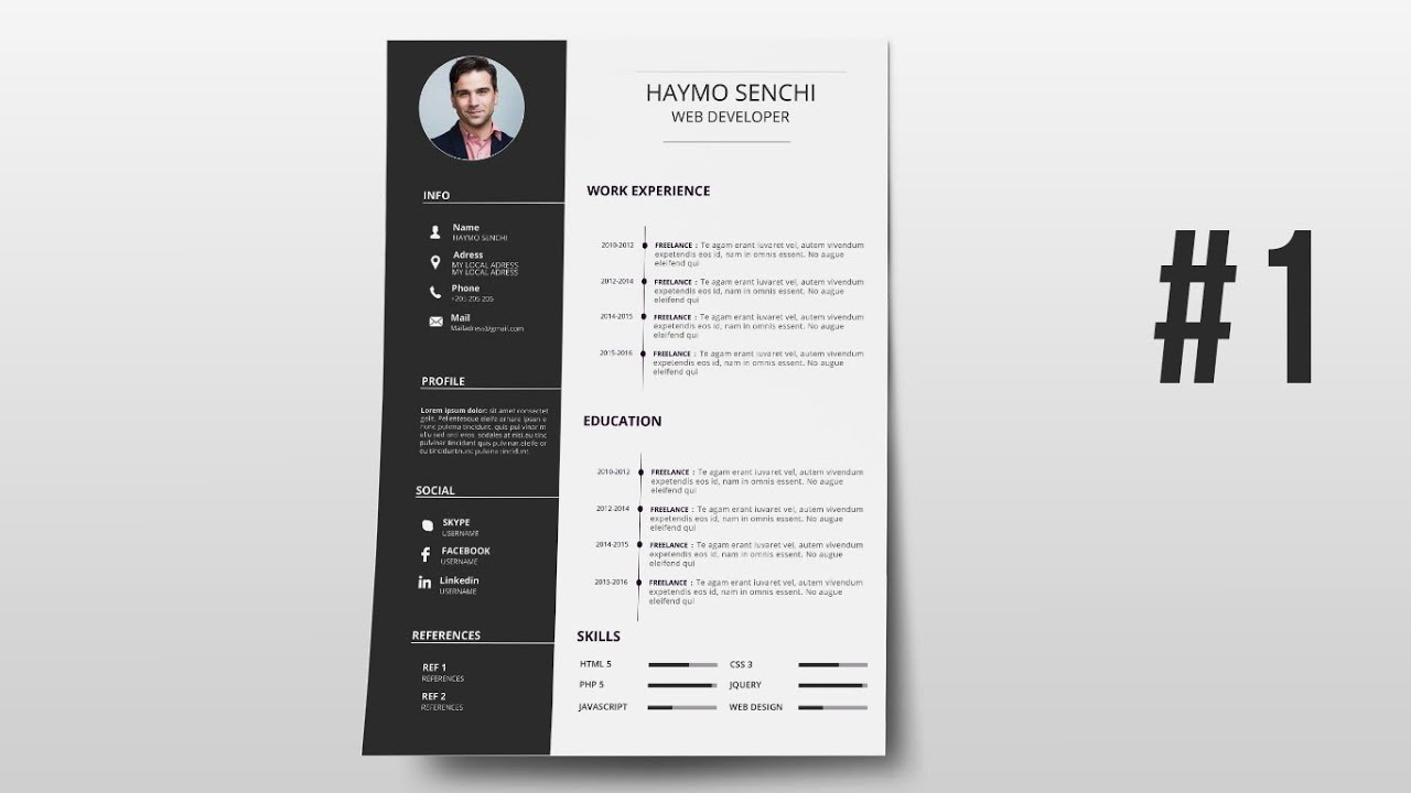 resume template design with photoshop 1 youtube - Resume Template Ideas