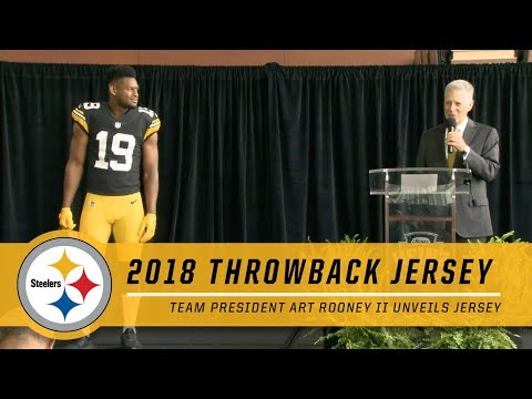 JuJu Smith-Schuster & Steelers President Art Rooney II Unveil New Super Bowl XIII Throwback Jersey