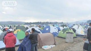 「凍えるほど寒い」入国審査待つ行き場失った難民(16/03/08)