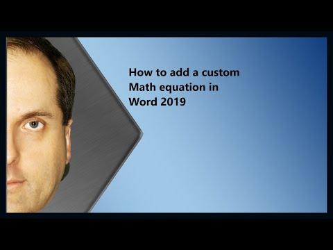 How To Add A Custom Math Equation In Word 2019