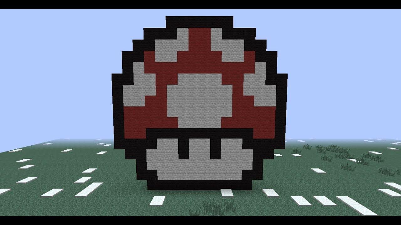 Minecraft Pixel Art Mushroom From Super Mario 8bit How To Craft