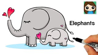 How to Draw Elephants Easy Mommy and Baby
