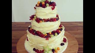dreistöckige fruchtige Hochzeitstorte ohne Fondant :) Deko-Idee mit Modellierschokolade