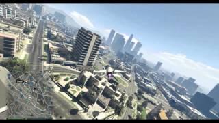 GTA V Online Laser jet flight upside down over Los Santos