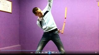 Нунчаку видеоуроки- подкидывания под ногами(Nunchaku slow motion)