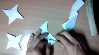 Как сделать сюрикен из бумаги (Модульное оригами звезда ниндзя)