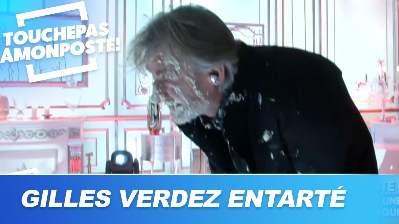 Gilles Verdez offre une tourte à Raquel Garrido et se fait entarter par Thierry Ardisson
