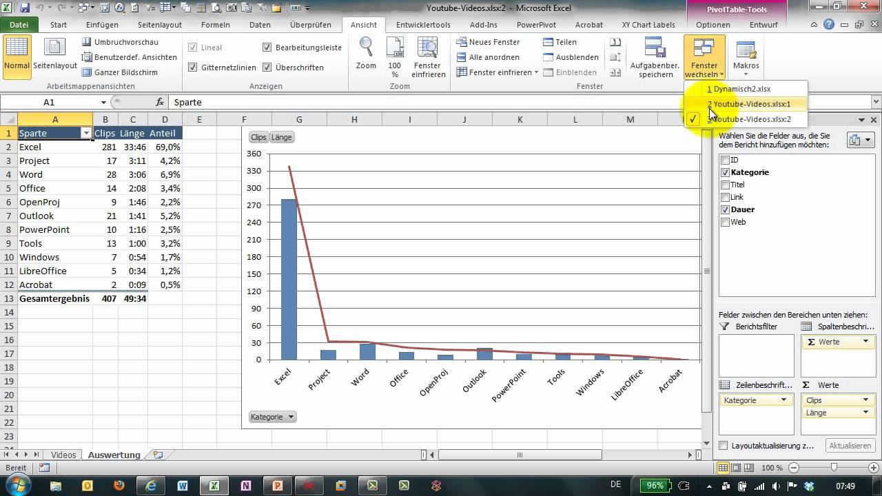 Excel # 283 - Tabellenblätter einer Datei nebeneinander darstellen ...